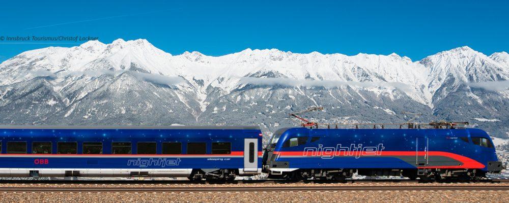 Nightjet rijdt van Düssedorf naar Innsbruck