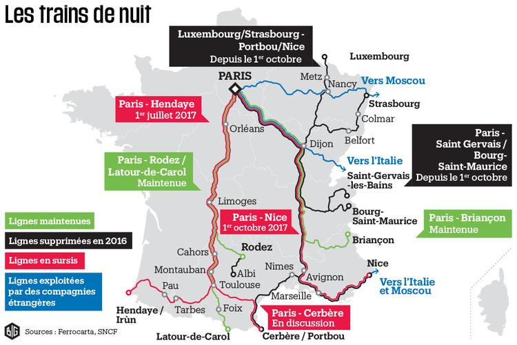 Overzichtskaart stand van zaken Franse nachttreinen