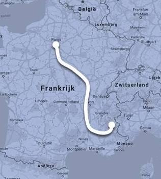 Route Intercités de Nuit van Parijs naar Briançon ©Noord West Express