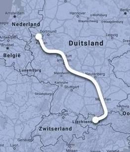 Route Nightjet Düsseldorf - Innsbruck ©Noord West Express