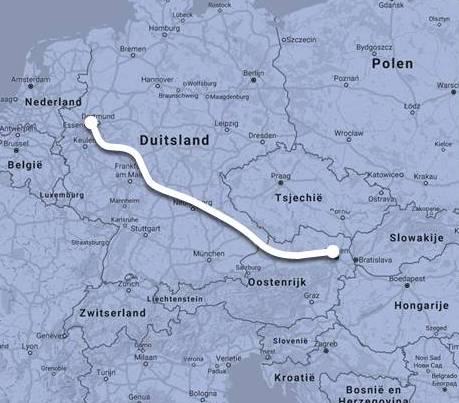 Route Nightjet Düsseldorf - Wenen ©Noord West Express