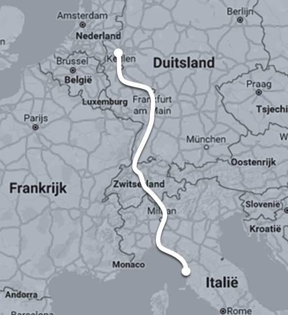 Route autoslaaptrein Düsseldorf - Livorno ©Noord West Express