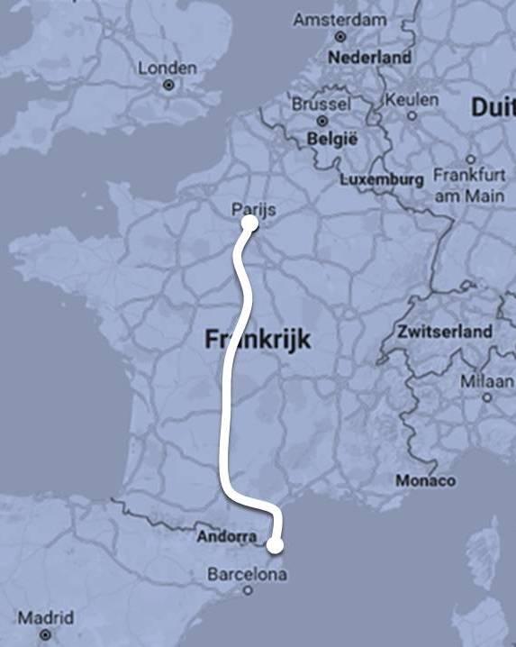 Route Intercités de Nuit van Parijs naar Portbou / Cerbère ©Noord West Express
