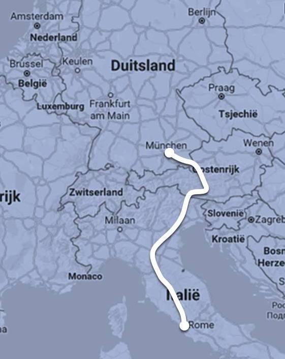 Route Nightjet München - Rome ©Noord West Express