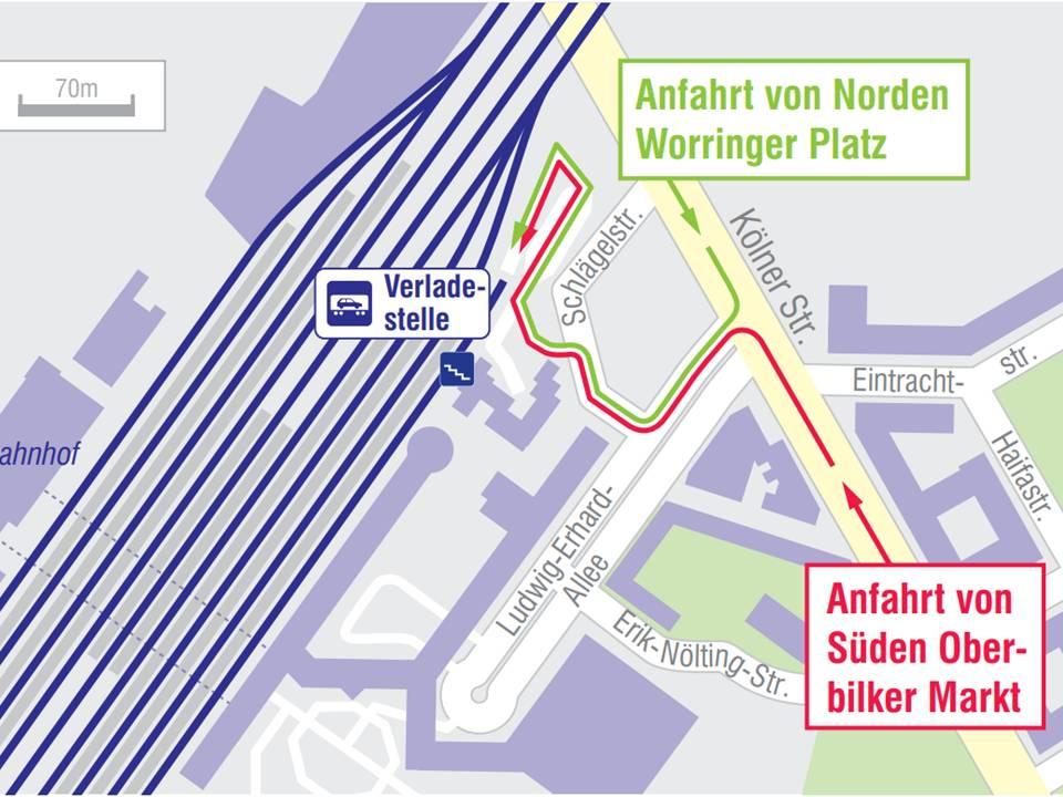 Aanrijroute naar laadstation Düsseldorf ©ÖBB