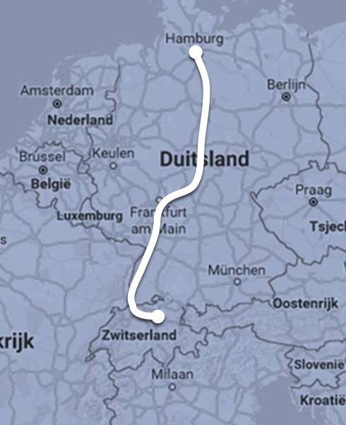 Route Nightjet Hamburg - Zürich ©Noord West Express