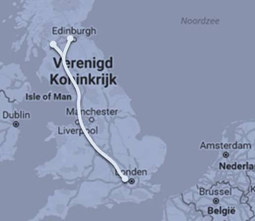 Route Caledonian Sleeper London - Schotse Laaglanden ©Noord West Express