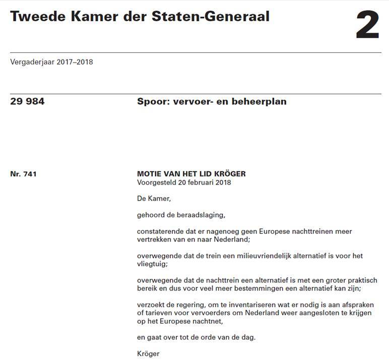Tekst van de motie-Kröger over nachttreinen in de Tweede Kamer